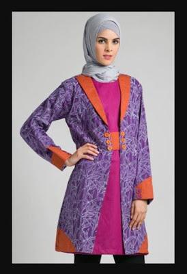 model baju batik muslim atasan wanita muslimah