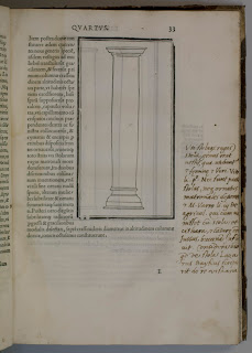 A printed page including an illustration of a column, as well as handwritten notes in the margins.