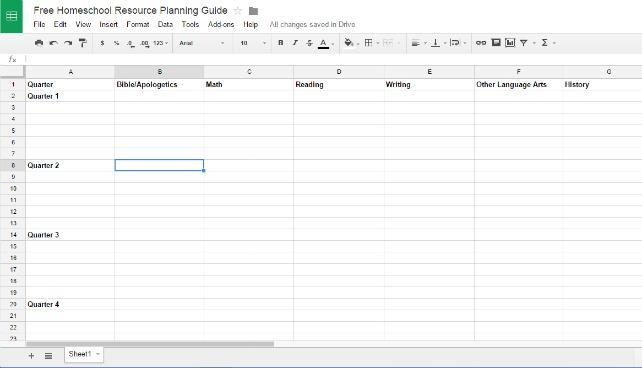 Free curriculum planner