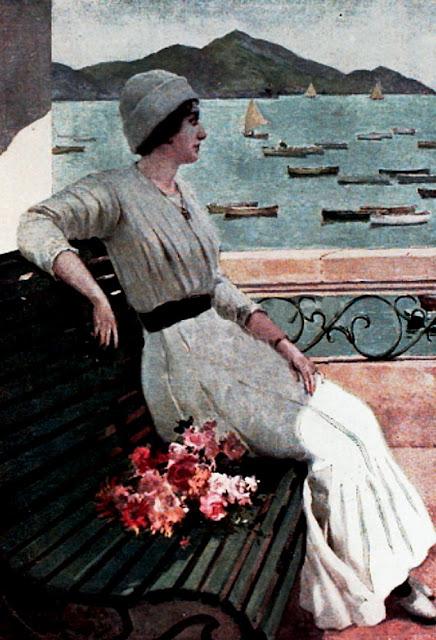 Mujer en la costa, Juan Martínez Abades, Pintor español, Paisajes de Juan Martínez Abades, Pintor Martínez Abades, Pintores españoles, Pintores Asturianos, Martínez Abades