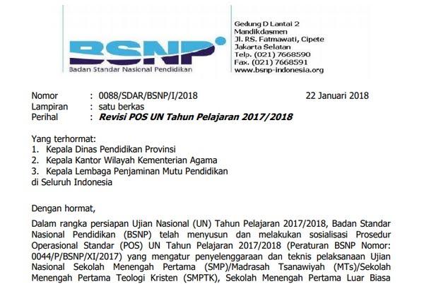 Revisi POS UN Tahun Pelajaran 2017/2018