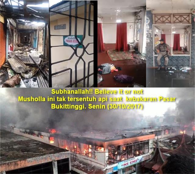 VIDEO: Subhanallah! Musholla ini tak tersentuh api saat kebakaran Pasar Atas Bukittinggi