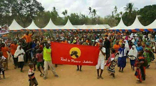 #JubileeRestInPeace banner carried by opposition youths at President Uhuru's Rally in Rabai, Kilifi. PHOTO | BANA