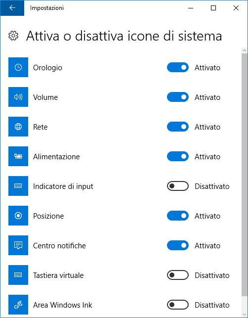 Windows 10 nascondere visualizzare icona sistema sulla barra applicazioni