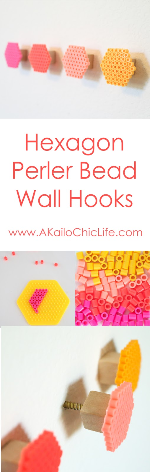 Use colorful Perler beads to create ombre hexagon wall hooks. Fun kids craft or teen bedroom decoration idea