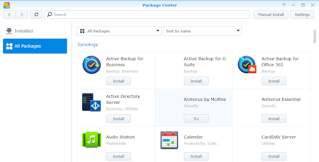 Synology DS218+ packages center