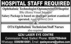 Jobs in Qazi Laser Eye Centre Hospital Staff in Sialkot