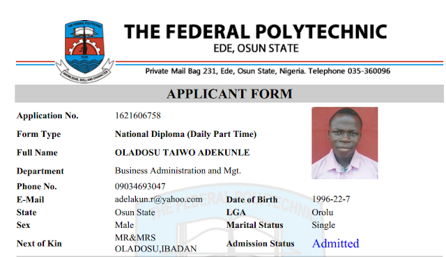 Ede Poly 2016-17 HND, ND [DPP], Pre-ND Admission List Out