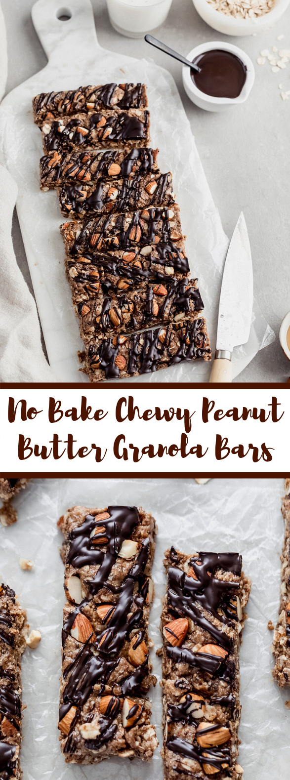 No Bake, Chewy Peanut Butter Granola Bars #desserts #darkchocolate