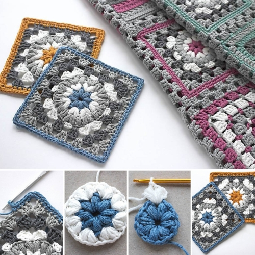 Triple Puff Granny Squar - Free Pattern + Tutorial