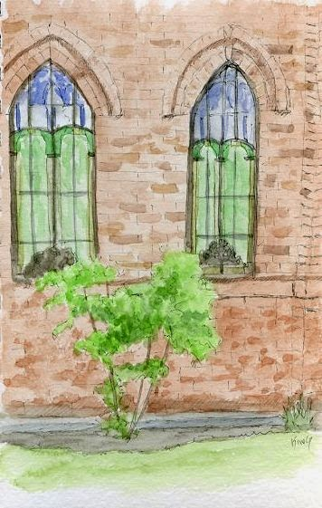 art sketch plein air church catholic pen watercolor
