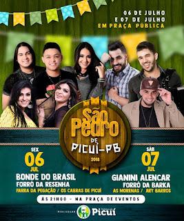 Prefeito de Picuí divulga atrações da festa de São Pedro, sexta (6) e sábado (7); confira