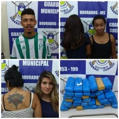 Guarda Municipal de Dourados (MS) detém na rodoviária 5 elementos e apreende quase 50 quilos de drogas