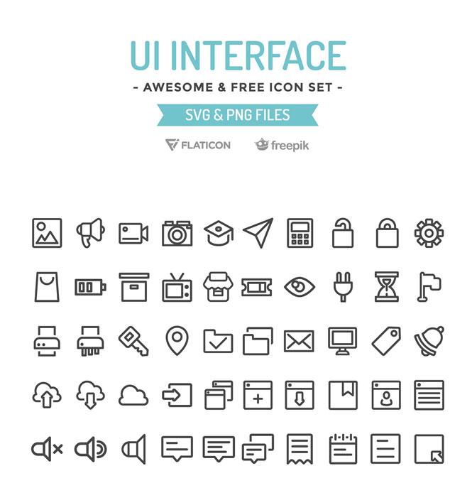100 Free UI Interface Icon Set