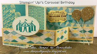 This card uses Stampin' Up!'s Carousel Birthday stamp set.  It also uses: Gold Glimmer Paper, Cupcakes & Carousels Designer Paper, Balloon Bouquet Punch, Decorative Label Punch, VersaMark Pad, Gold Embossing Powder, Heat Tool, and Cupcakes & Carousels Embellishment!!  #staminup #stamptherapist www.stampwithjennifer.blogspot.com
