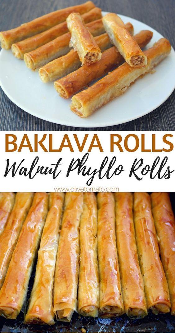 Syrupy Walnut Phyllo Rolls – Baklava Rolls