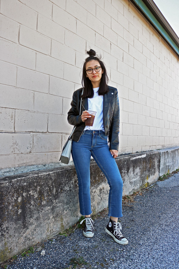 Cropped Flared Jeans, Leather Jacket, Converse