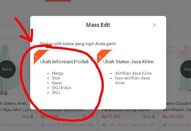 klik ubah informasi produk di Shopee