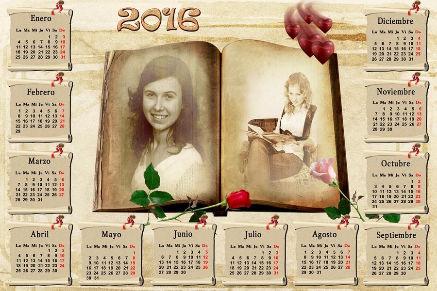 Calendarios para photoshop calendario del 2016 rom ntico - Disenos de calendarios ...