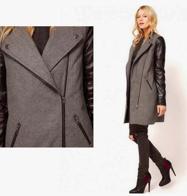 серое пальто на молнии с кожаными рукавами