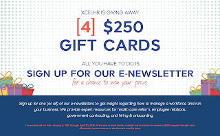 Enter the Xcelhr $250 Visa Gift Card Giveaway. Ends 4/30