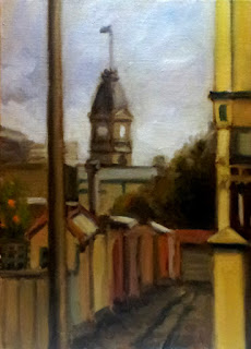 Oil painting of a Victorian-era clock tower with flag pole viewed from a distance with a foreground alleyway.