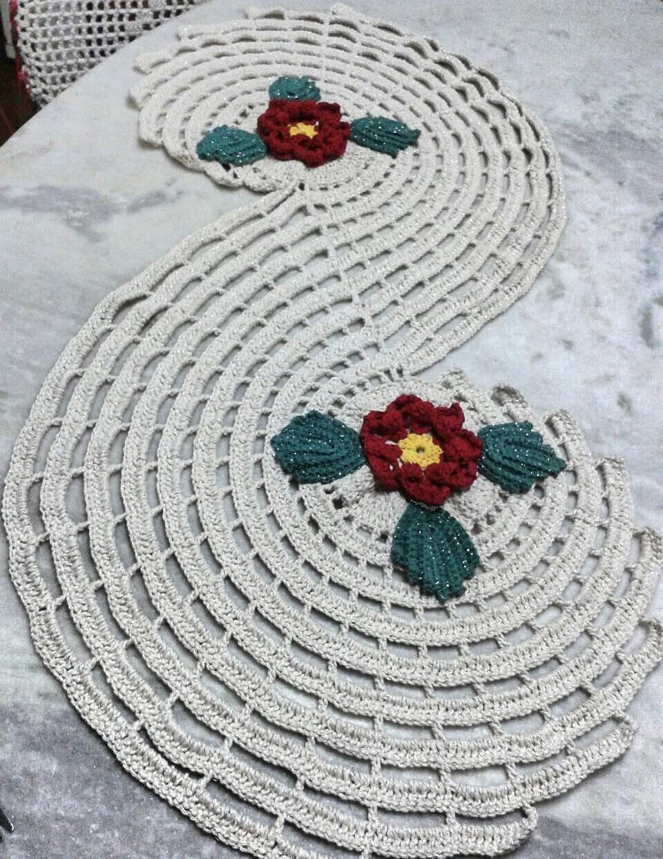 Caminos de mesa en crochet 2016 tejiendo con amigas - Camino de mesa elegante en crochet ...