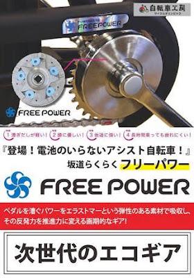 フリーパワー クランクギア 電動自転車 省エネ エコ