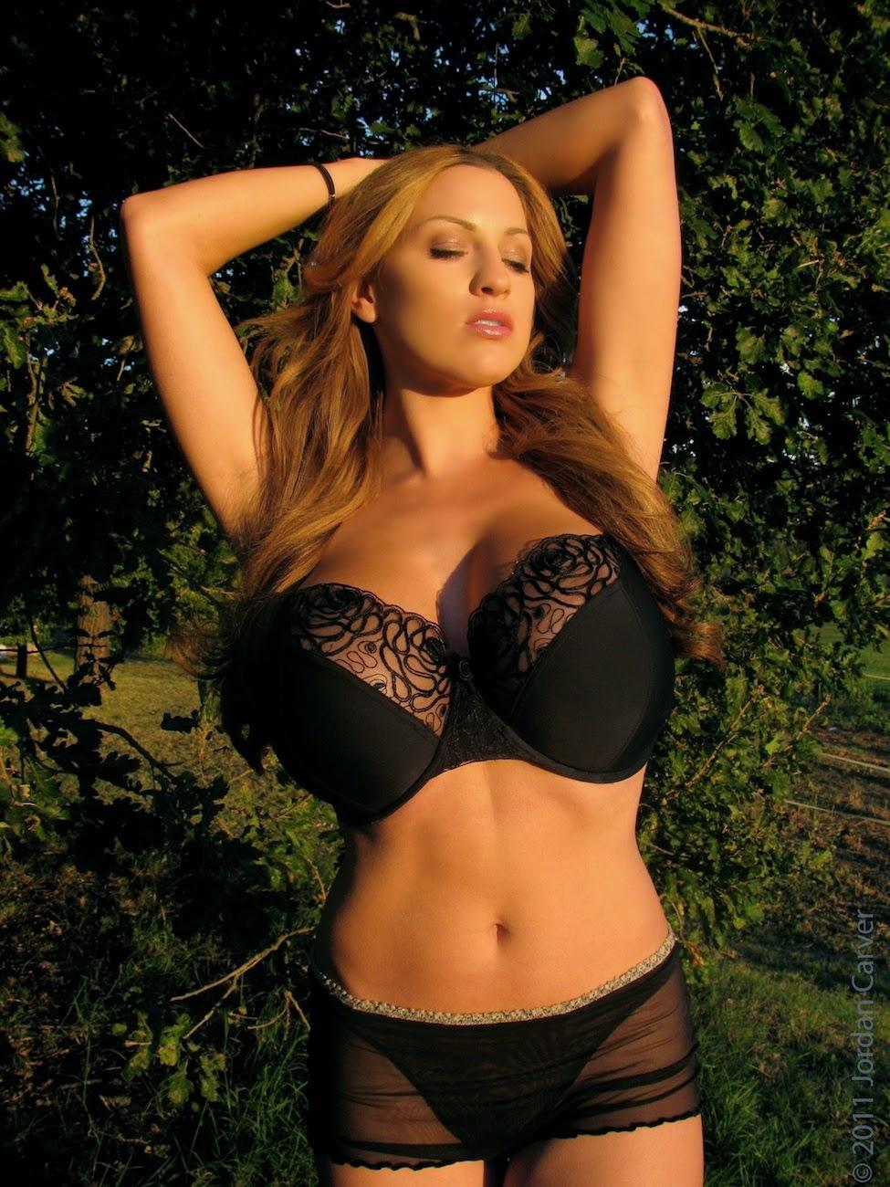 Jordan Carver Big Boobs In Black See Through Bra And Panty -2569