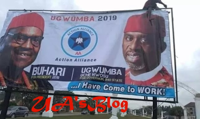 BREAKING!! 2019: Okorocha's son-In-Law, Uche Nwosu Campaigns With Buhari's Image After Dumping DPP For AA (Photo)