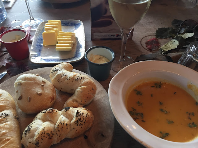 lunch with bread and pumpkin soup