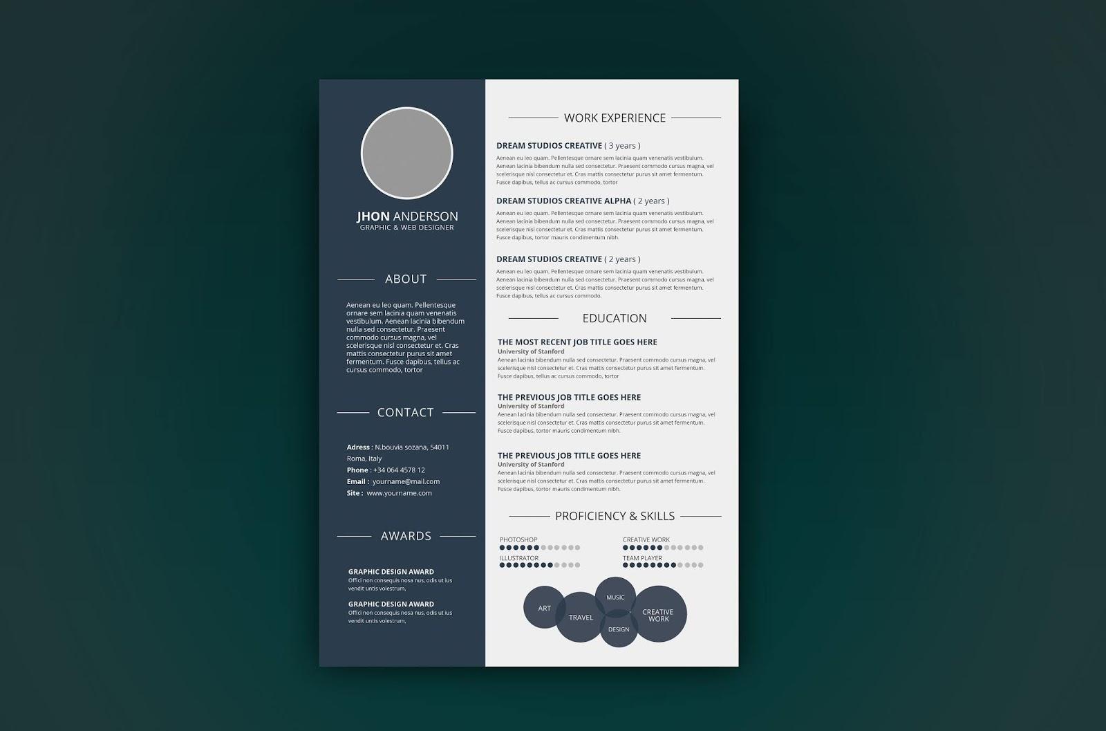 10 photoshop editable resume    cv template free download