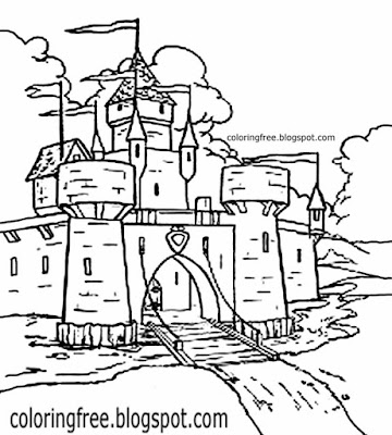 Printable fort coloring ideas Nobles 5th century fortified structure medieval castle drawings teens