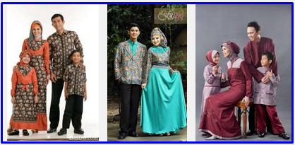 Foto Gambar Model Baju Lebaran Keluarga Muslim Batik Anak Dewasa