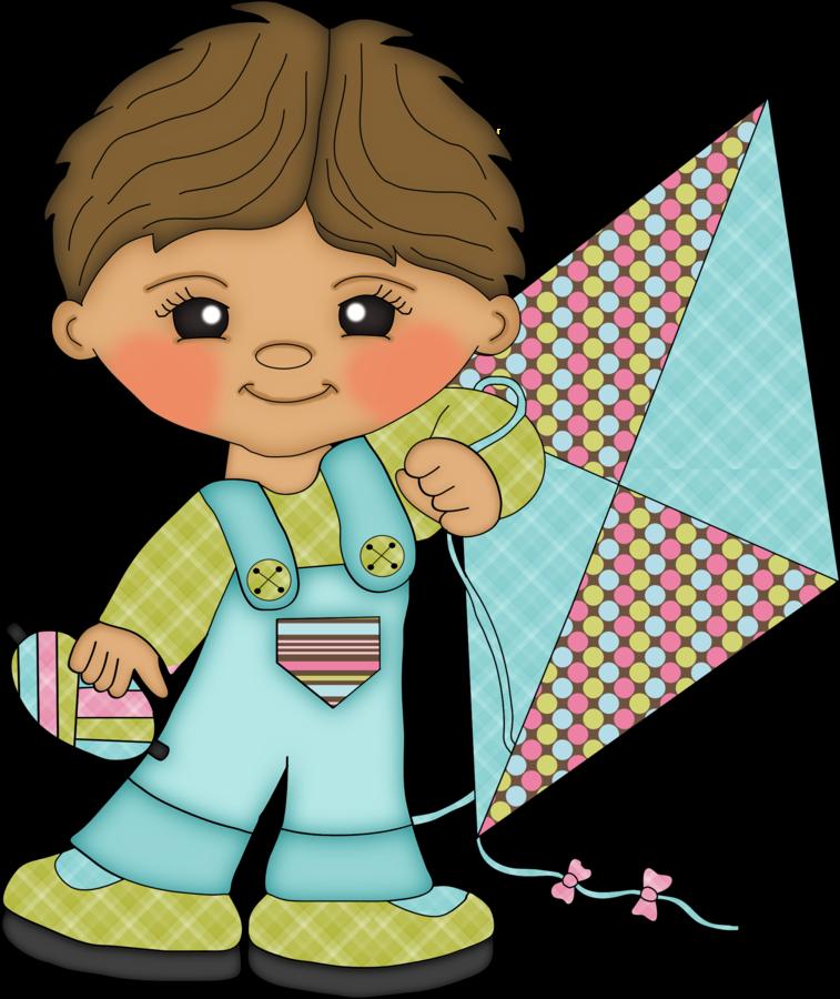 Clipart de Niños Volando Cometas.
