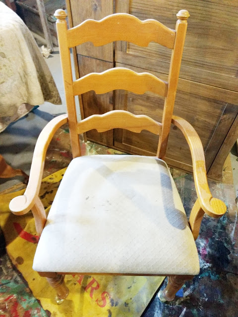 before picture of an old chair updated with wood and paint
