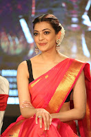 Kajal Aggarwal in Red Saree Sleeveless Black Blouse Choli at Santosham awards 2017 curtain raiser press meet 02.08.2017 033.JPG