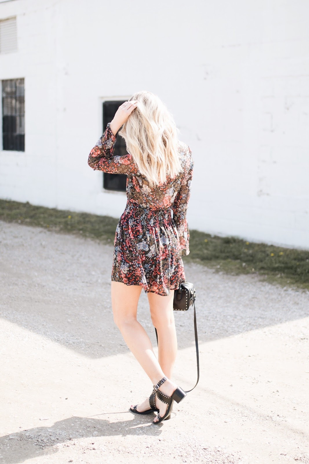 dark floral dress, studded block heel sandals