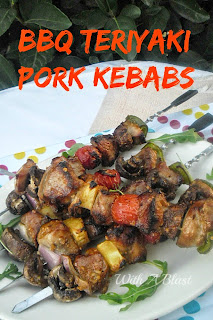 BBQ Teriyaki Pork Kebabs ~ Marinated, Tender Pork with veggies etc, brushed with a tangy basting sauce and grilled to perfection #BBQ PorkKebabs #KebabRecipe #Marinade
