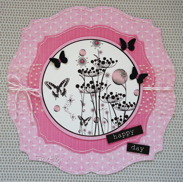 Black and pink card with floral silhouette image