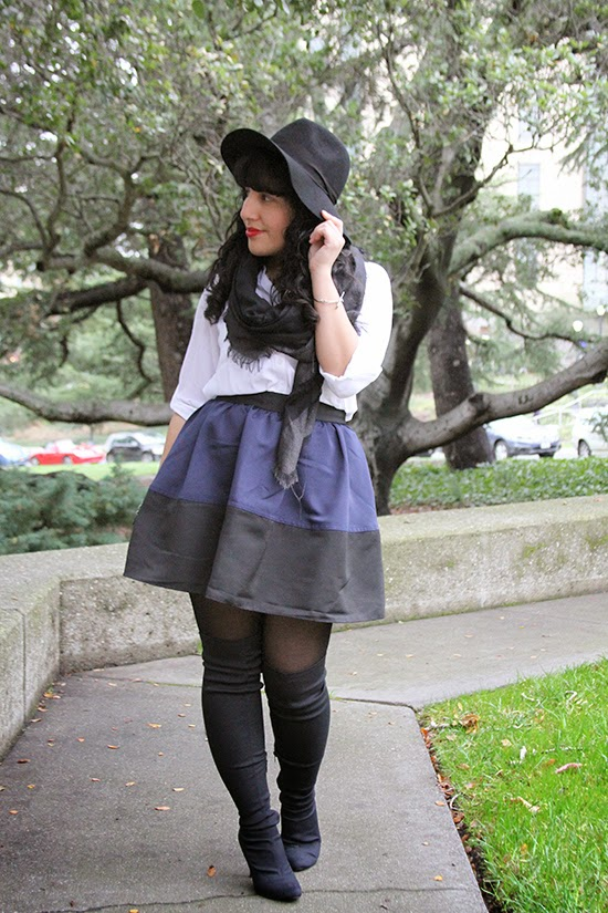 Navy and Black Color Block Skirt