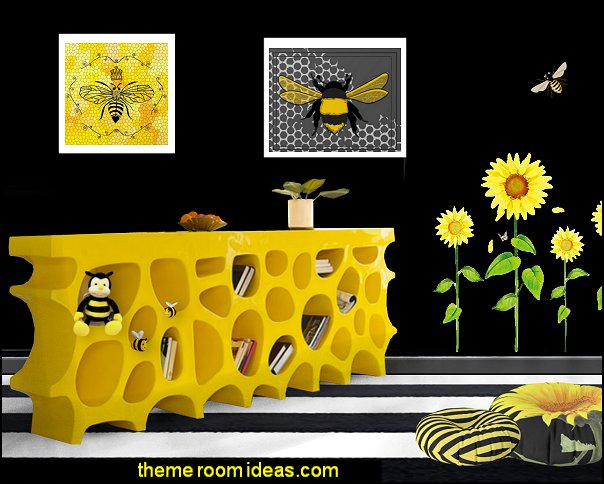 beehive bedroom beehive desk  bumble bee bedrooms - Bumble bee decor - Honey bee decor - decorating bumble bee home decor - Bumble Bee themed nursery - bee wallpaper mural decals - Honeycomb Stencil - hexagonal stencils - bees in springtime garden bedroom -  bee themed nursery - black yellow bedroom ideas - Hexagon pattern -