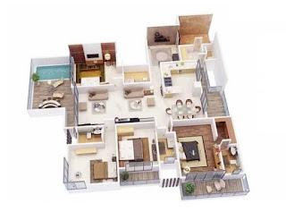 pelan lantai rumah setingkat 4 bilik