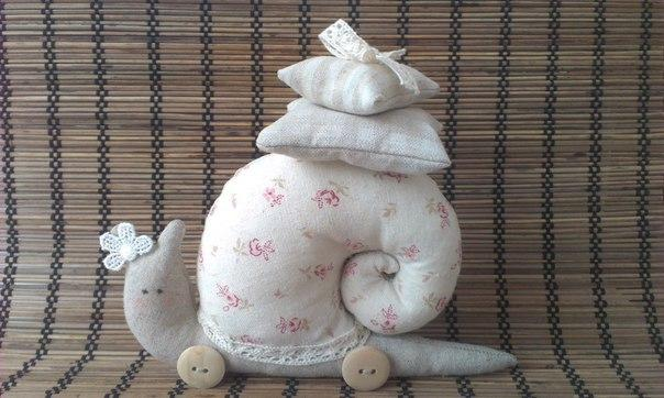 Textile cute decorative Snail in Tilda Style Tutorial