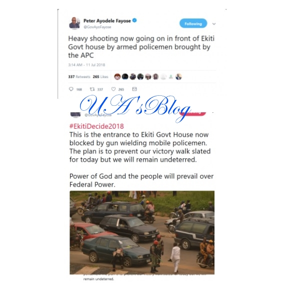 Heavy Shooting Now Going On In Front of Ekiti Govt House – Fayose