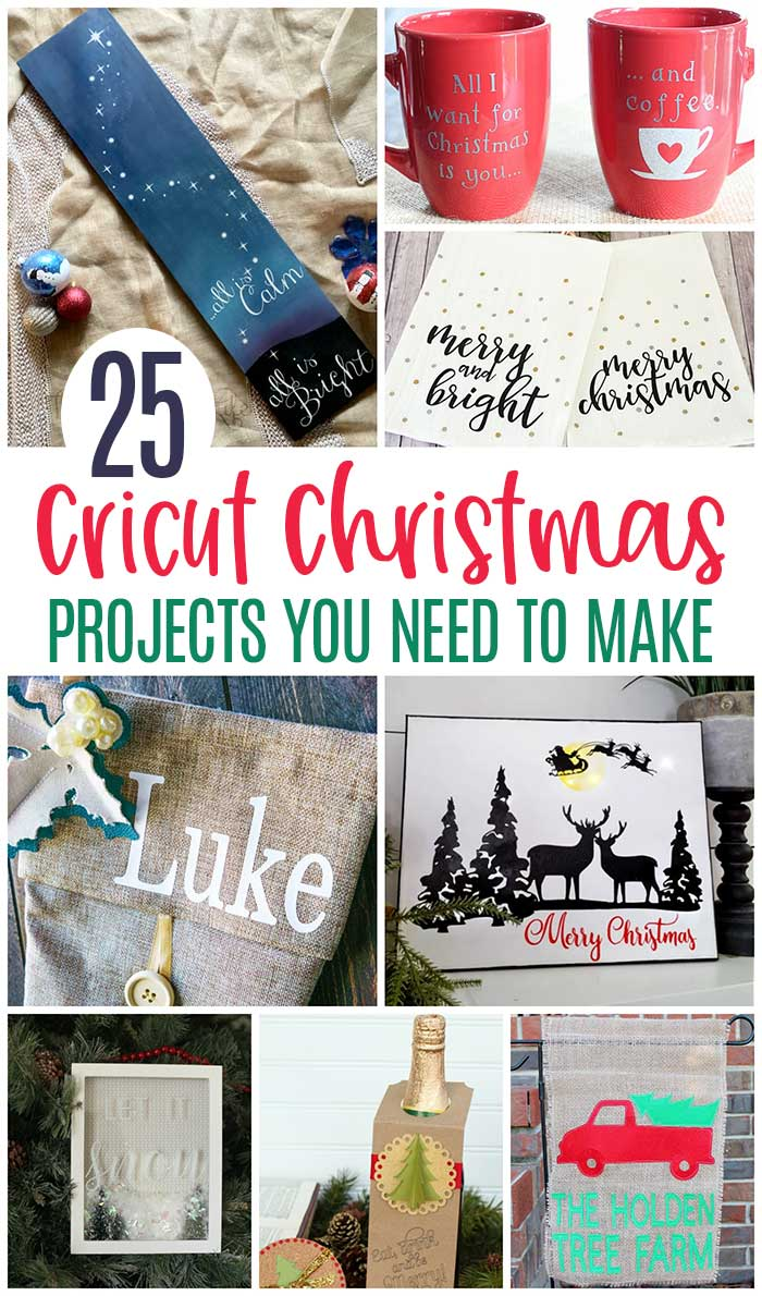 Cricut Christmas projects you need to make this year! 25 ideas for DIY home decor, personalized gifts, Christmas DIY projects, Personalized Christmas pajamas, personalized gifts, homemade gifts, homemade Christmas cards and more. #cricut #cricutmade #cricutdesignspace #cricutprojects #christmas #DIY #handmade