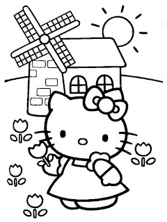Printable Hello Kitty Flower Garden Coloring Sheets