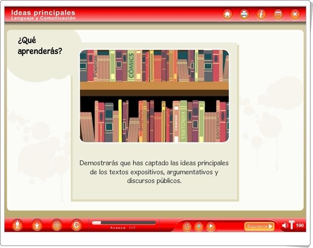 """""""Ideas principales"""" (Aplicación interactiva de Lengua Española de Secundaria)"""