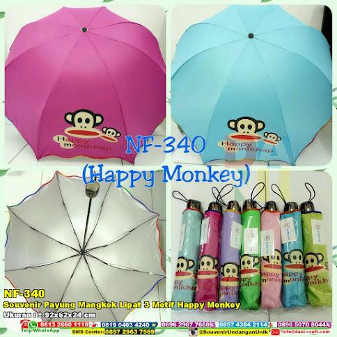 Souvenir Payung Mangkok Lipat 3 Motif Happy Monkey