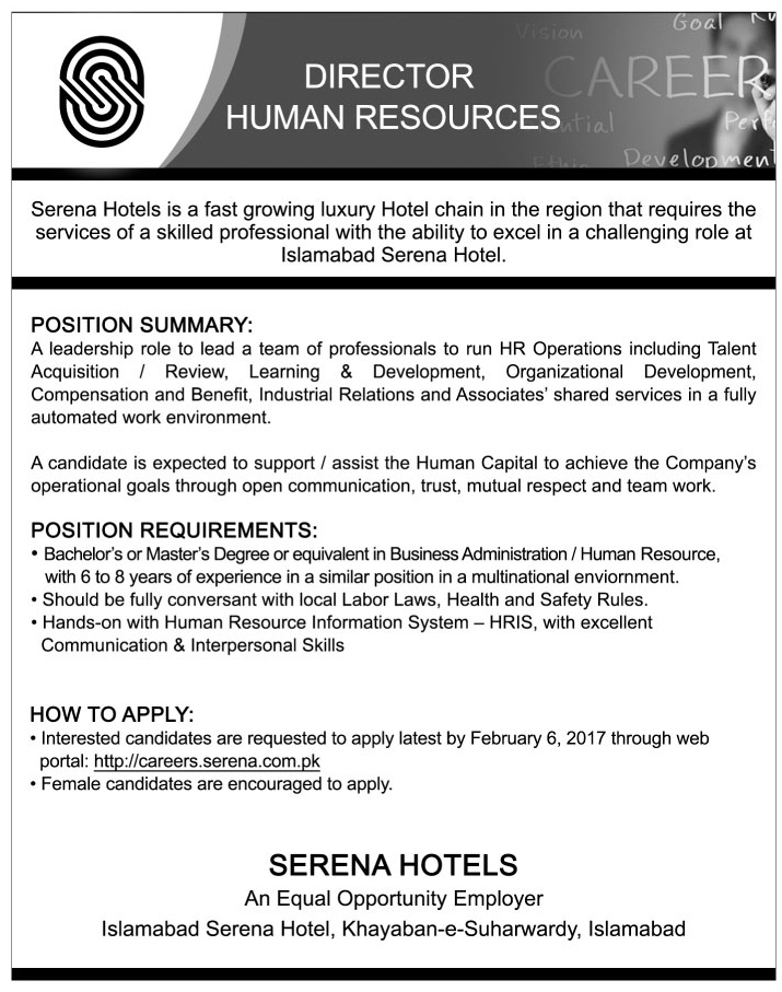 Jobs in  Serena Hotel Islamabad October 2017.